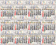 Calendário por 2015 anos no fundo do dólar Fotografia de Stock
