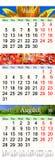 Calendário por junho julho e agosto de 2017 com imagens coloridas Fotografia de Stock Royalty Free