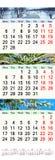 Calendário por três meses de 2017 com imagens da natureza Foto de Stock