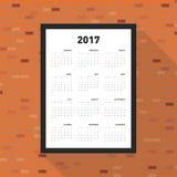 Calendário 2017 por um ano Fotografia de Stock