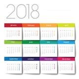 calendário 2018 Post-it da cor ilustração stock