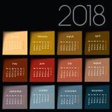 calendário 2018 Post-it da cor ilustração do vetor