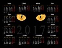 Calendário preto para 2017 com os olhos de gato no espanhol Imagem de Stock Royalty Free