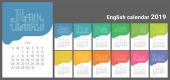 Calendário 2019 Projeto tirado mão do vetor Letterin inglês da garatuja ilustração royalty free