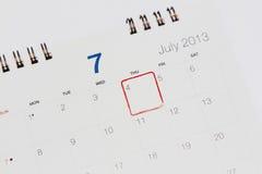 Calendário que mostra 4o julho Imagens de Stock