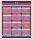 Calendário 2016 que parte de domingo Imagens de Stock
