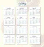 Calendário 2016 que parte de segunda-feira Imagens de Stock