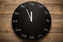 Calendário redondo preto do pulso de disparo 12 meses Foto de Stock Royalty Free