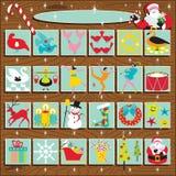 Calendário retro do advento de Santa Imagens de Stock Royalty Free