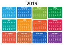 Calendário 2019 A semana parte de domingo Ilustração do vetor ilustração royalty free