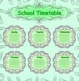 Calendário semanal da escola programação Imagens de Stock Royalty Free