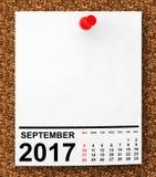 Calendário setembro de 2017 rendição 3d Imagens de Stock Royalty Free