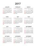 Calendário simples 2017 Imagens de Stock