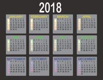 Calendário simples de 2018 anos no fundo branco Calendário para 2018 Fotos de Stock Royalty Free