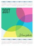 Calendário simples de um vetor de 2017 anos Fotografia de Stock
