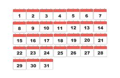 Calendário simples do vetor Ajustado 31 dias ilustração royalty free