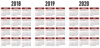 Calendário simples 2018, 2019, 2020 Gráfico de vetor Fotografia de Stock Royalty Free