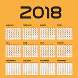 Calendário simples por 2018 anos Imagem de Stock