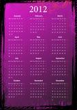 Calendário sujo cor-de-rosa floral europeu 2012 do vetor Fotos de Stock