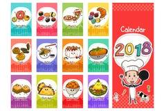 Calendário 2018 temático do alimento no estilo dos desenhos animados Imagens de Stock Royalty Free