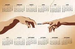 Calendário tocante das mãos 2014 Imagens de Stock