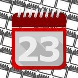 Calendário vermelho - ícone número 23 do vetor Fotografia de Stock