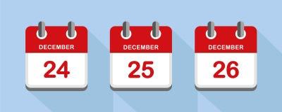 Calendário vermelho 24 25 feriados do Natal do 26 de dezembro ilustração do vetor