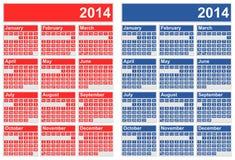 2014 calendários Imagem de Stock Royalty Free