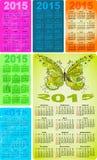 Calendários coloridos ajustados do bolso para 2015 Fotografia de Stock Royalty Free