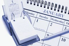 Calendários e lápis Fotos de Stock