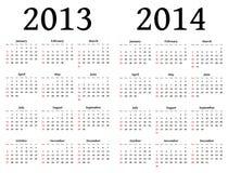 Calendários para 2013 e 2014 Imagem de Stock