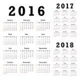 Calendários para 2016-2018 Fotografia de Stock
