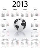 Calend?rio para 2013 no espanhol com globo Foto de Stock Royalty Free