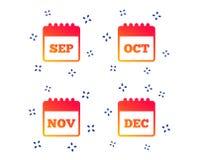 calend?rio setembro, novembro, outubro, dezembro Vetor ilustração royalty free