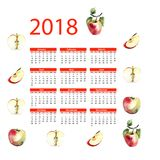2018 calendar with apple illustration. 2018 calendar with apple illustration, Week starts from Monday, watercolor illustration Royalty Free Stock Image