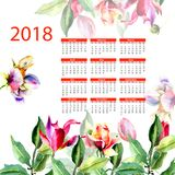 2018 calendar with romantic flowers. 2018 calendar with romantic flowers, Week starts from Monday, watercolor illustration Royalty Free Stock Photography