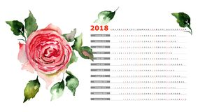 2018 calendar with Rose flowers. 2018 calendar with Rose flowers, watercolor illustration Royalty Free Stock Images