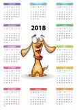 Calendar 2018 år, den roliga tecknade filmen, cuty hund Arkivfoton