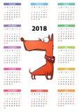 Calendar 2018 år, den roliga tecknade filmen, cuty hund stock illustrationer