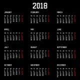 Calendar 2018 år enkel stil som isoleras på svart bakgrund också vektor för coreldrawillustration Royaltyfria Bilder