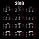 Calendar 2018 år enkel stil som isoleras på svart bakgrund också vektor för coreldrawillustration Royaltyfri Fotografi