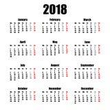 Calendar 2018 år enkel stil som isoleras på vit bakgrund också vektor för coreldrawillustration Arkivbild