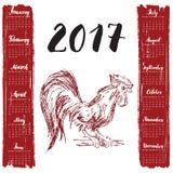 Calendar 2017 år, med handen drog röda tuppen Månadbokstäver, vecka startar söndag också vektor för coreldrawillustration royaltyfri illustrationer