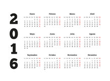 Calendar 2016 år på det spanska språket, arket A4 Royaltyfri Fotografi