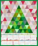 Calendar 2017 år tolv månader bakgrundsträdtriangulering av polygontrianglar Royaltyfri Fotografi