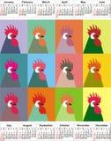 Calendar 2017 år, tolv månader, tolv tuppar En kalender med ett symbol, tuppen Kalender för popkonst Royaltyfri Bild