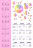 Calendar 2015, 2016, 2017, 2018, 2019 år Veckan startar från solen Royaltyfri Foto
