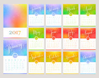 Calendar 2017. Ð¡alendar for the Year 2017. Vector template with abstract blurred background and lettering. Handwritten month names. Set of 12 monthly cards royalty free illustration