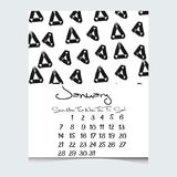 Calendar вектор 2018 год с текстурами нарисованными рукой, стартами воскресеньем недели Стоковое Изображение RF