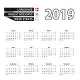 Calendar 2019 в датском языке, стартах недели в понедельник иллюстрация штока